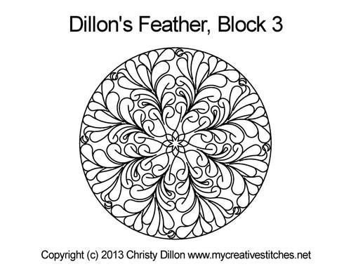 Dillon's feather round block 3 quilt design