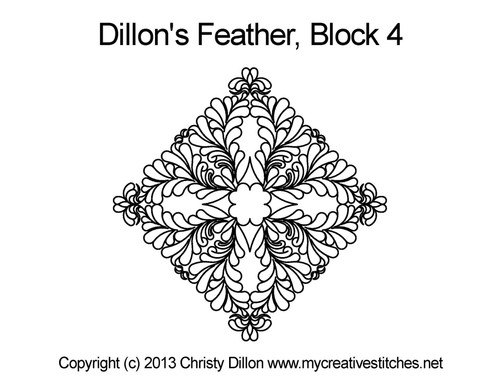 Dillon's feather triangle block 4 quilt pattern