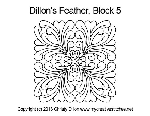 Dillon's feather square quilting pattern for block 5