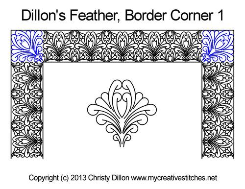 Dillon's feather border 1 corner quilt pattern