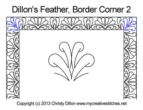 Dillon's feather border 2 corner quilt pattern