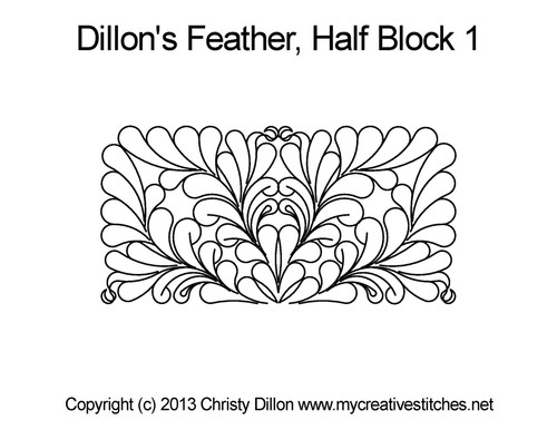 Dillon's feather half block 1 digital quilting
