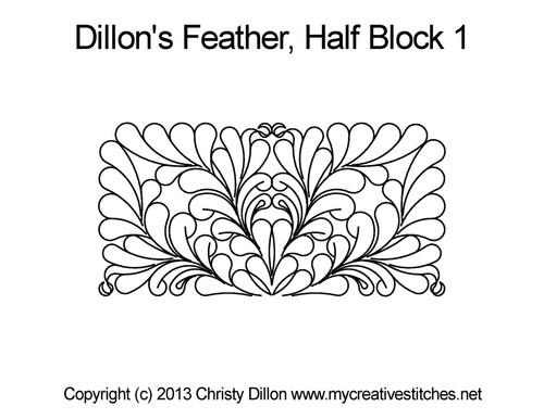 Dillon's feather half block 1 digital quilting