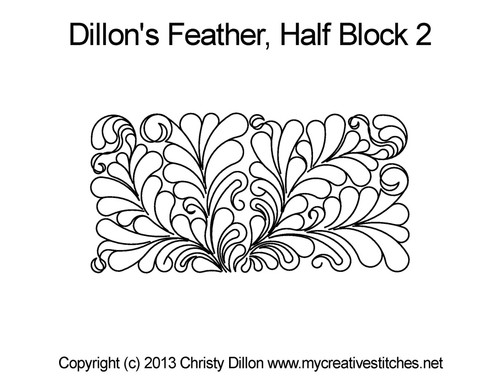 Dillon's feather half block 2 digital quilting