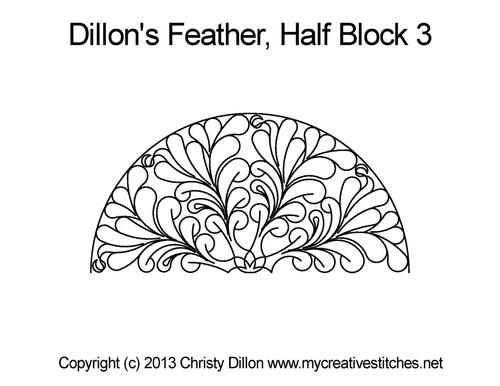 Dillon's feather half block 3 digital quilting