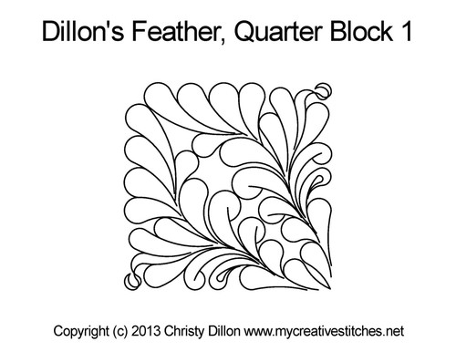 Dillon's feather quarter block 1 quilt design