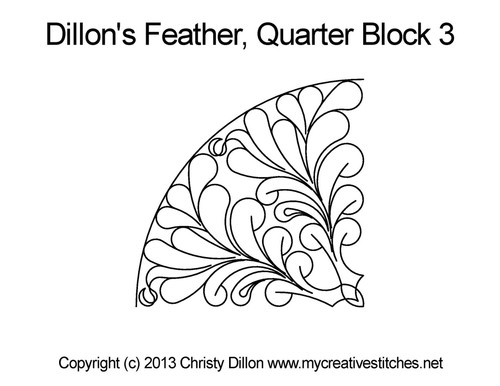 Dillon's feather small block 3 digital quilt