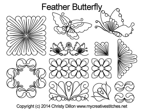 Feather butterfly digitized Set quilt patterns