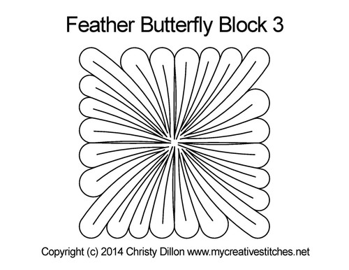 Feather butterfly square block quilt pattern