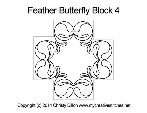Feather butterfly half block pattern