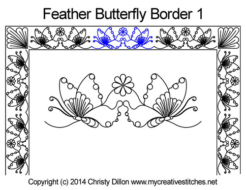 Feather butterfly border quilt design
