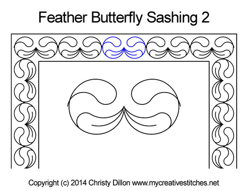 Feather butterfly sashing quilt pattern