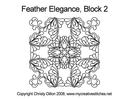 Feather elegance square block 2 quilt pattern