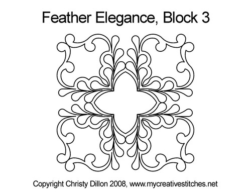Feather elegance square block 3 quilt pattern