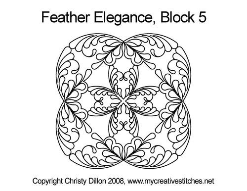 Feather elegance block 5 quilt pattern