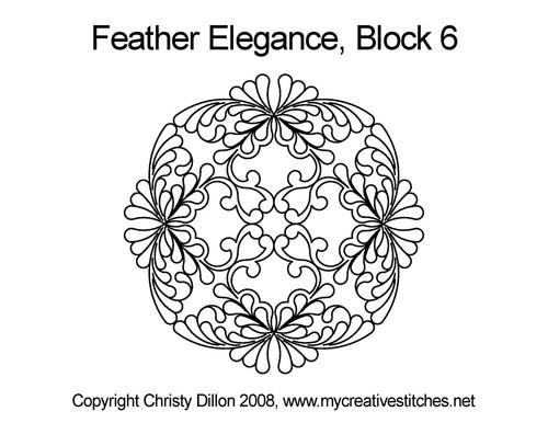 Feather elegance square block 6 quilt design