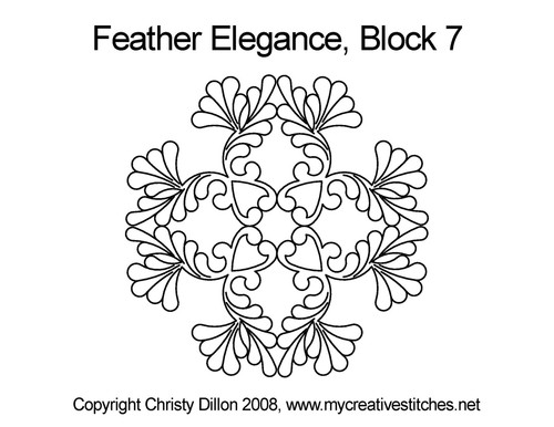 Feather elegance triangle block 7 quilt pattern