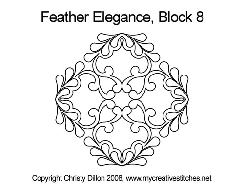 Feather elegance triangle block 8 quilt pattern