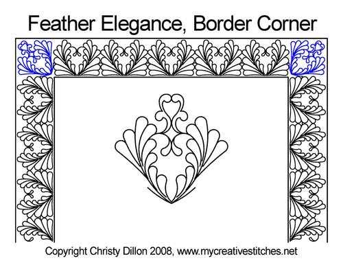 Feather elegance border corner quilting