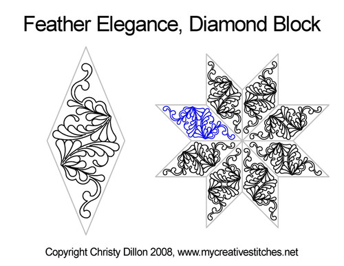 Feather elegance diamond block quilt pattern