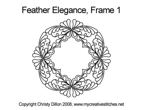 Feather elegance computerized frame 1 quilt pattern