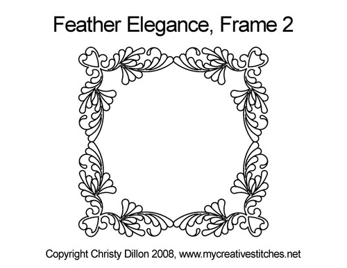Feather elegance computerized frame 2 quilt pattern