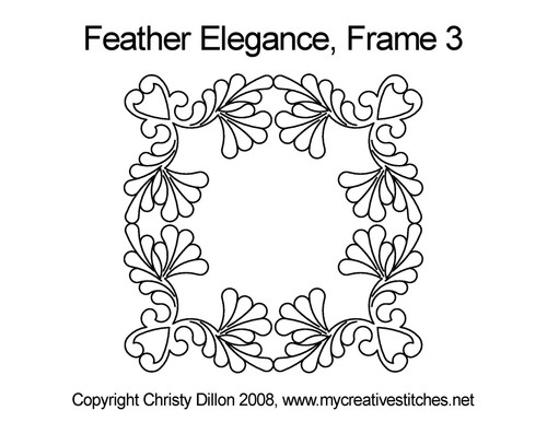 Feather elegance digital frame 3 quilt pattern