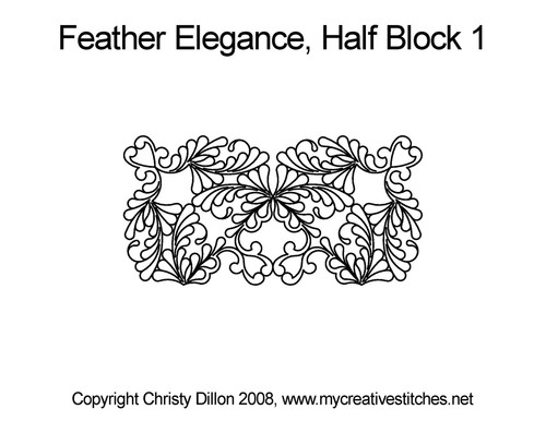 Feather elegance quilting pattern for half block 1