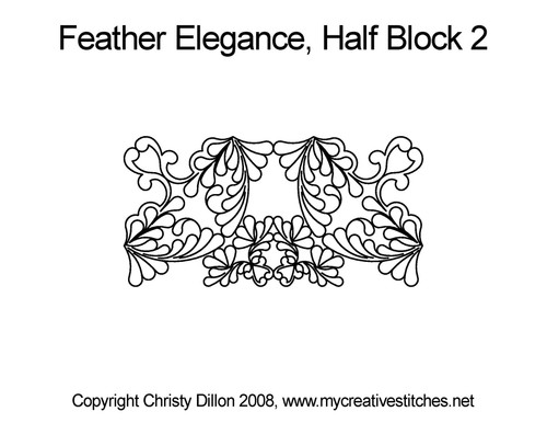 Feather elegance quilting pattern for half block 2