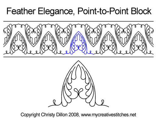 Feather elegance point to point block quilting