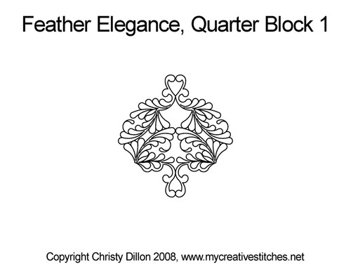 Feather elegance quarter block 1 quilt pattern