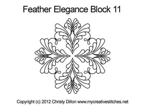Feather elegance quilting pattern for block 11