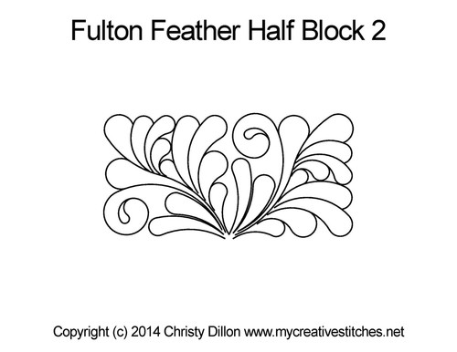 Fulton feather half block 2 quilting designs