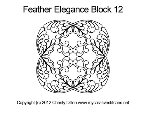 Feather elegance quilting pattern for block 12