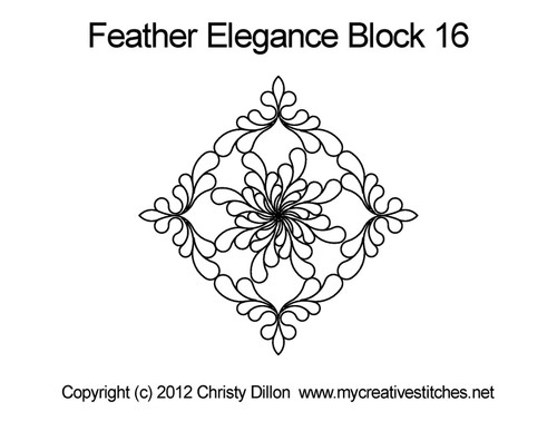 Feather elegance quilting design for block 16