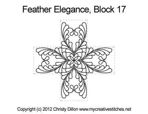 Feather elegance quilting design for block 17