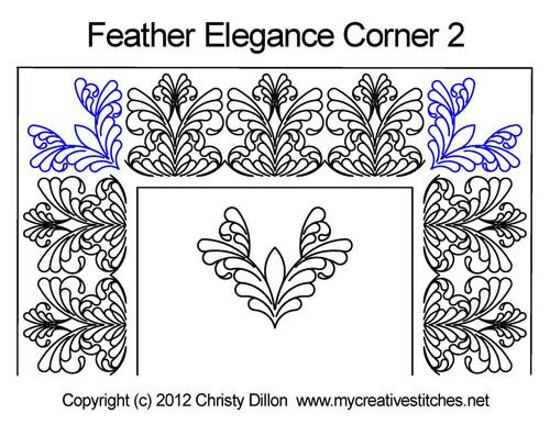 Feather elegance corner 2 quilting design