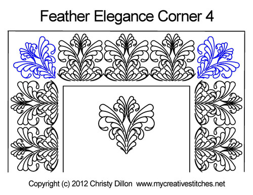 Feather elegance corner 4 quilting pattern