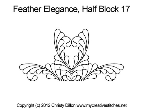Feather elegance quilting pattern for half block 17