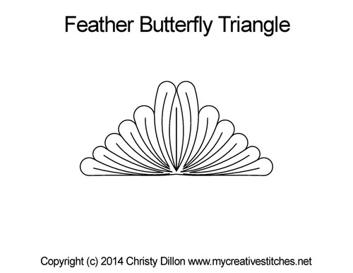 Feather butterfly triangle quilt design