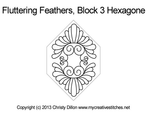 Fluttering feathers hexagone block 3 quilt patterns