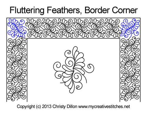 Fluttering feathers border & corner quilt design