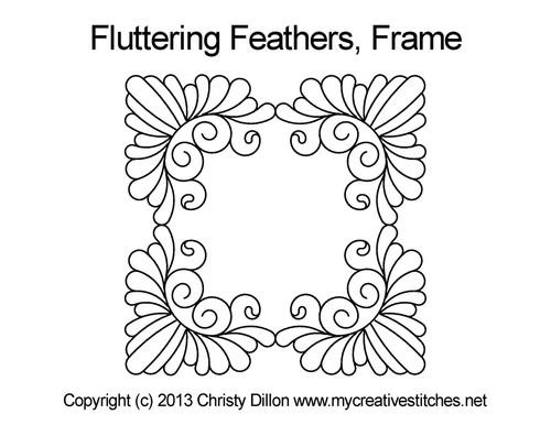 Fluttering feathers digital frame quilt design