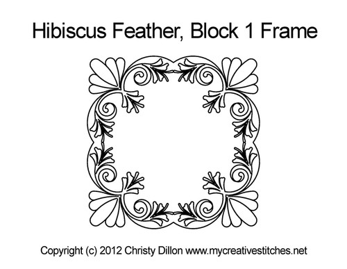 Hibiscus feather block & frame quilt pattern