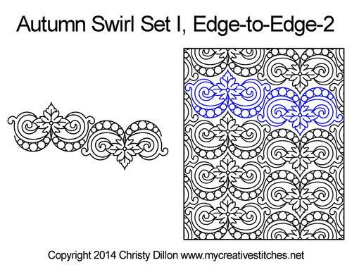 Autumn swirl edge to edge 2 quilt designs