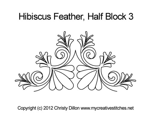 Hibiscus feathers quilting design for half block 3