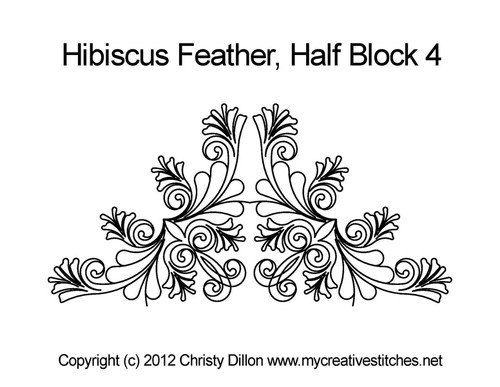 Hibiscus feathers quilting design for half block 4