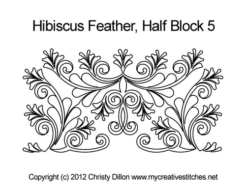 Hibiscus feather half block 5 quilt patterns