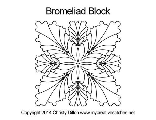 Bromeliad square block quilt design