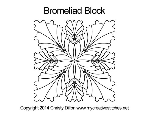 Bromeliad square block quilt design